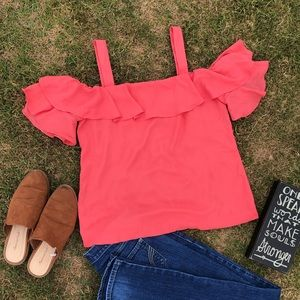 J. Crew Tops - J. Crew cold shoulder top ruffle sleeve